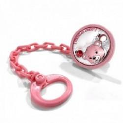 Pinza chupete bebé plata Ley 925m bilaminada 40mm. osito rosa cadena 17cm.