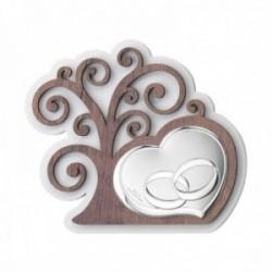 Adorno decoración plata Ley 925m bilaminada 15cm. Árbol Vida corazón alianzas