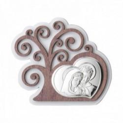 Adorno decoración plata Ley 925m bilaminada 15cm. Árbol Vida corazón Sagrada Familia