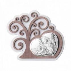 Adorno decoración plata Ley 925m bilaminada 15cm. Árbol Vida corazón ángeles
