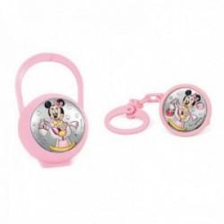 Juego pinza porta chupete plata Ley 925m bilaminada Disney bebé Minnie caballito rosa