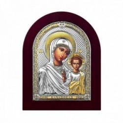 Imagen icono plata Ley 925m bilaminada Virgen María niño Jesús 14.5cm. marco madera