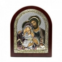 Imagen icono plata Ley 925m bilaminada Sagrada Familia 14.5cm. marco madera