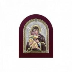 Imagen icono plata Ley 925m bilaminada Virgen María niño Jesús 10.5cm. marco madera