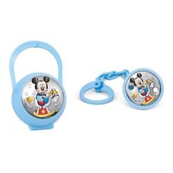 Juego pinza porta chupete plata Ley 925m bilaminada Disney bebé Mickey caballito azul
