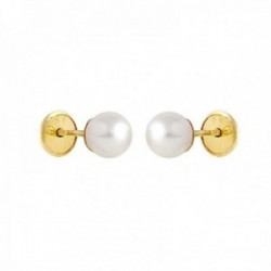 Pendientes Oro Amarillo 18k modelo Aretes de Bebé ( 2 Perlas Cultivadas) Medida: 5mm.