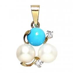 Colgante oro 18k  2 perlas 1 turquesa 2 circonitas [284]