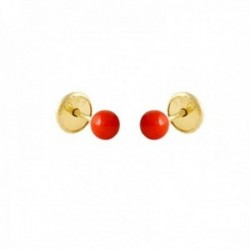 Pendientes Oro Amarillo 18k modelo Aretes de Bebé (2 r/Corales) Medida: 3mm.