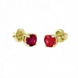 Pendientes Oro Amarillo 18k modelo Garritas Color (2 rubies 5mm. 1,28cts.) Medida: 5mm.