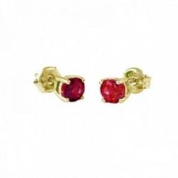 Pendientes Oro Amarillo 18k modelo Garritas Color (2 rubies 4mm. 0,58cts.) Medida: 4mm.