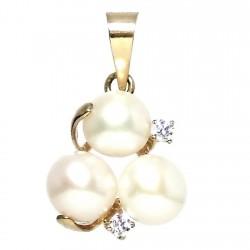 Colgante oro 18k 3 perlas 2 circonitas [297]