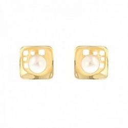 Pendientes Oro Amarillo 18k modelo Comunión (2 Perlas Cultivadas botón 4mm.) Medida: 8,30mm.