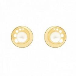 Pendientes Oro Amarillo 18k modelo Comunión (2 Perlas Cultivadas botón 4mm.) Medida: 9,25