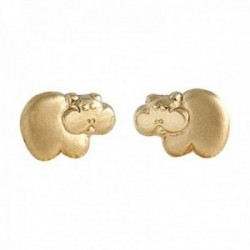Pendientes Oro Amarillo 18k modelo Tornillería hipopótamo. Medida: 8x6mm.