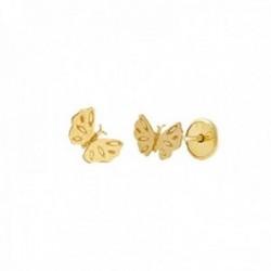 Pendientes Oro Amarillo 18k modelo Tornillería mariposa. Medida: 6,5×4,5mm.