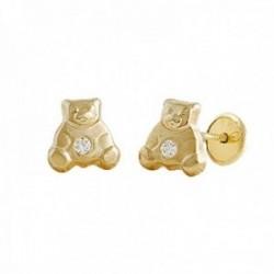 Pendientes Oro Amarillo 18k modelo Tornillería oso 6,5mm. (2 Circonitas de 1,50mm.) Medida: 6,5mm.
