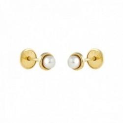 Pendientes Oro Amarillo 18k modelo Aretes de Bebé (2 Perlas Cultivadas de 3mm.) Medida: 4,5mm.