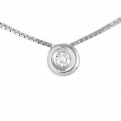 Colgante con Cadena Oro Blanco 18k modelo Tu Diamante (1 Diamante 2,90mm. 0,10cts.) Colgante: 5,90mm