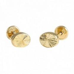 Pendientes Oro Amarillo 18k modelo Tornillería (Oval pequeño tallado) Medida: 6x5mm.