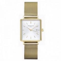 Reloj Rosefield mujer QWSG-Q03 The Boxy White Sunray Mesh Gold correa malla milanesa acero
