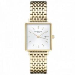 Reloj Rosefield mujer QWSG-Q09 The Boxy White Sunray Steel Gold malla milanesa