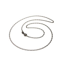 Cadena oro blanco 18k diamantada 40cm. espesor 1.5mm. cierre reasa unisex