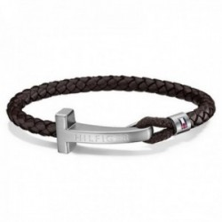 Pulsera Tommy Hilfiger acero inoxidable 21.5cm. cuero trenzado marrón logo centro 2700869