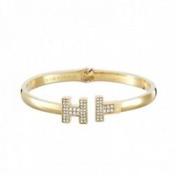 Pulsera Tommy Hilfiger acero inoxidable chapada oro logo circonitas 2700984