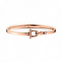 Pulsera Tommy Hilfiger acero inoxidable chapada oro rosa estribo logo esmaltado color 2700828