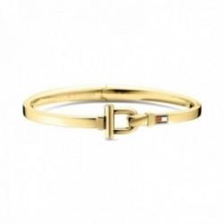 Pulsera Tommy Hilfiger acero inoxidable chapada oro estribo logo esmaltado color 2700829