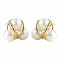 Pendiente Oro Amarillo 18k modelo Sofía (6 perlas cultivadas boton de 8-8mm.) Medida: 16mm.