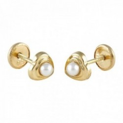 Pendientes Oro Amarillo 18k modelo Tornillería (2 Perlas Cultivadas de 2,50mm) Medida: 5,45x5,55mm.