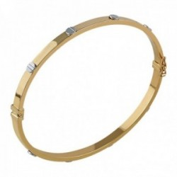 Pulsera Oro Amarillo y Oro Blanco 18k modelo Bracelets (tornillos OB) Medida:55x4mm.