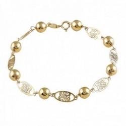 Pulsera Oro Amarillo 18k modelo Bracelets (3 Diamantes 1,20mm. 0,02cts) (8 bolas 6mm.) Medida: 18cm.