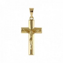 Cruz Oro Amarillo 18k modelo Cruces doble media caña cristo Medida: 21x12x3mm.
