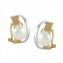 Pendientes Oro Amarillo Blanco 18k modelo Sofía (2 perlas cultivadas boton 7-7,5mm) Medida: 16×9,5mm