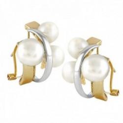 Pendientes Oro Amarillo y Blanco 18k modelo Sofía (4 perlas cultivadas boton 6-6,5mm. 2 de 7-7,5mm.)