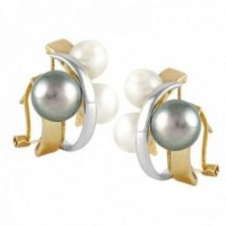 Pendientes Oro Amarillo y Blanco 18k modelo Sofía (4 perlas cultivadas botón blancas 6-6,5mm.)