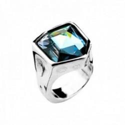 Sortija Unode50 FRESH talla 14 metal chapado plata centro Swarovski azul ANI0540AZUMTL0L