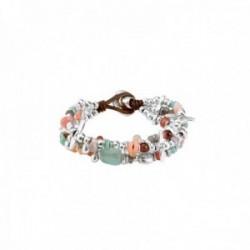 Pulsera Unode50 LOVE BUBBLE 20cm. metal chapado plata detalles libélula piedras multicolor PUL1735MCLMTL0M