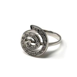 Sortija oro blanco 18k espiral circonitas mujer