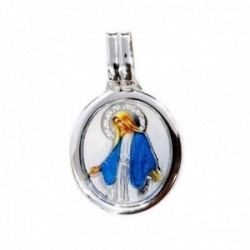 Medalla plata Ley 925m Virgen Milagrosa 23mm. imagen resina plástica oval unisex