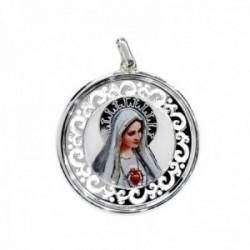 Medalla plata Ley 925m Virgen Fátima 35mm. imagen resina plástica redonda unisex