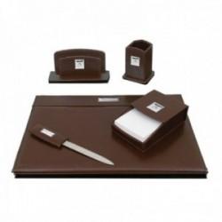Escritorio set escribanía Pierre Cardin piel marrón detalles plata Ley 925m bilaminada 5 piezas