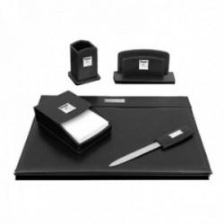Escritorio set escribanía Pierre Cardin piel negro detalles plata Ley 925m bilaminada 5 piezas