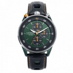 Reloj Viceroy hombre 46763-94 colección Heat correa piel negra verde detalles naranjas