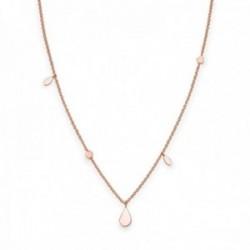 Gargantilla Rosefield JSDNR-J055 metal chapada oro rosa 53cm. Iggy Shaped drop necklage rosegold