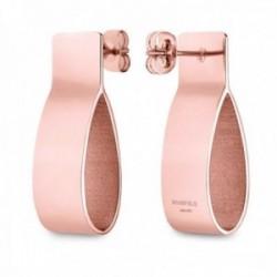 Pendientes Rosefield FCER-J225 acero inoxidable chapado oro rosa colección Lois plegados