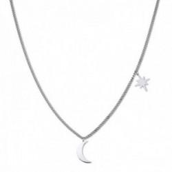 Gargantilla Rosefield MSNS-J208 acero inoxidable chapado rodio plateado colección Lois luna estrella