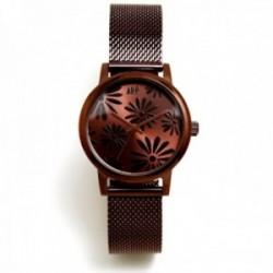 Reloj Agatha Ruiz de la Prada AGR261 colección Maya Margaritas chocolate malla milanesa acero